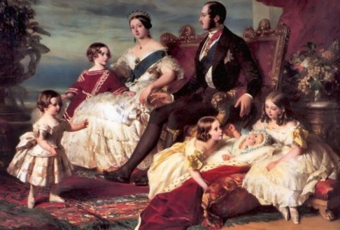 Victoria's family in 1846 by Franz Xaver Winterhalter. Left to right: Prince Alfred and the Prince of Wales; the Queen and Prince Albert; Princesses Alice, Helena and Victoria